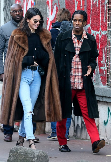 Kendall Jenner with A$AP Rocky at a flea market on Jan. 22, 2017, in Paris.