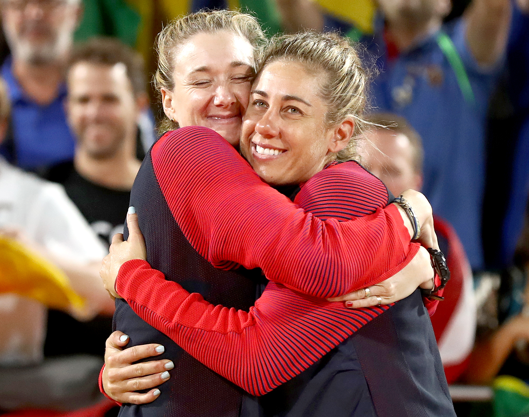 Bronze medalists Kerri Walsh Jennings and April Ross of the United States pose on the podium during the medal ceremony for the Women's Beach Volleyball on day 12 of the Rio 2016 Olympic Games at the Beach Volleyball Arena on August 17, 2016 in Rio de Janeiro, Brazil.
