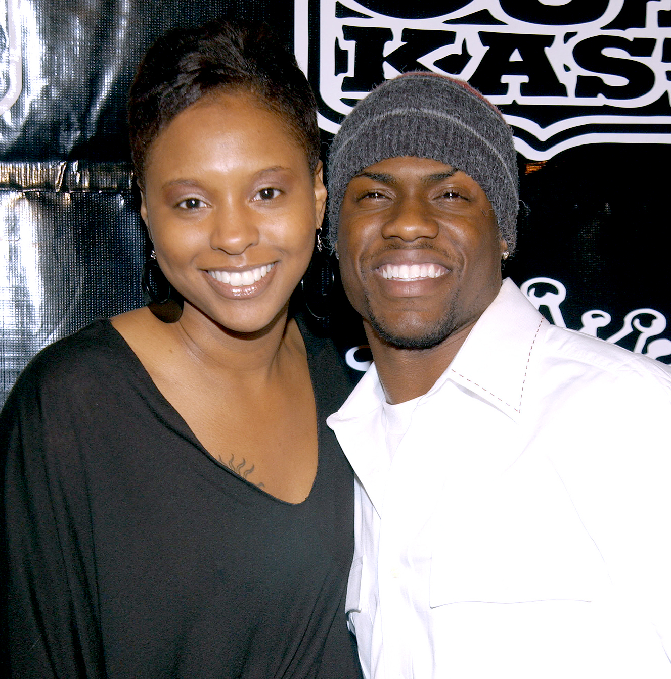 Kevin Hart and wife Torrei during Polaroid/OutKast 2004 Grammy Party.