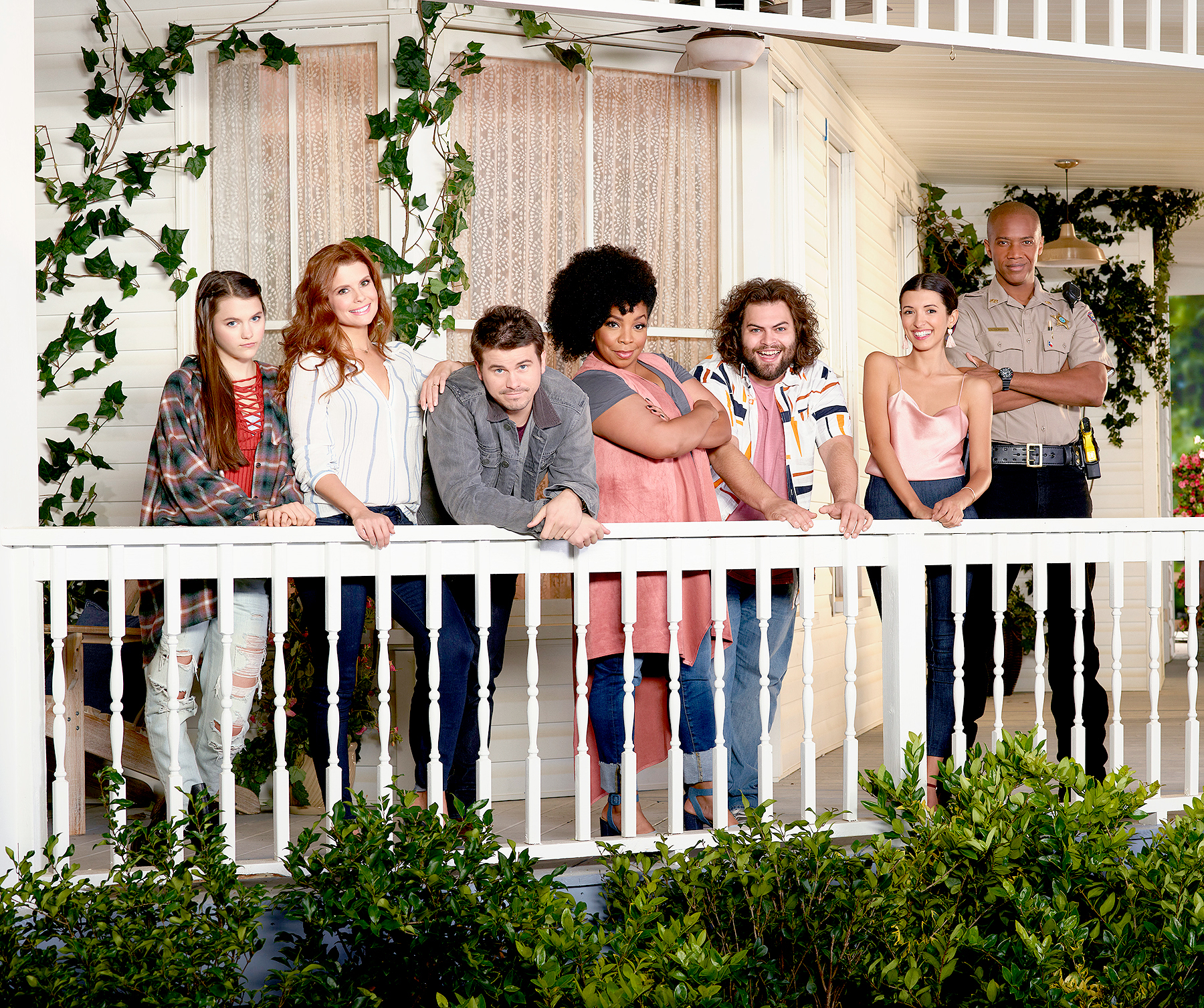 """Kevin (Probably) Saves the World"" stars Chloe East and Reese Cabrera, JoAnna Garcia Swisher as Amy Cabrera, Jason Ritter as Kevin Finn, Kimberly Hébert Gregory as Yvette, Dustin Ybarra as Tyler Medina, J. August Richards as Deputy Nate Purcell and India De Beaufort as Kristin Allen."