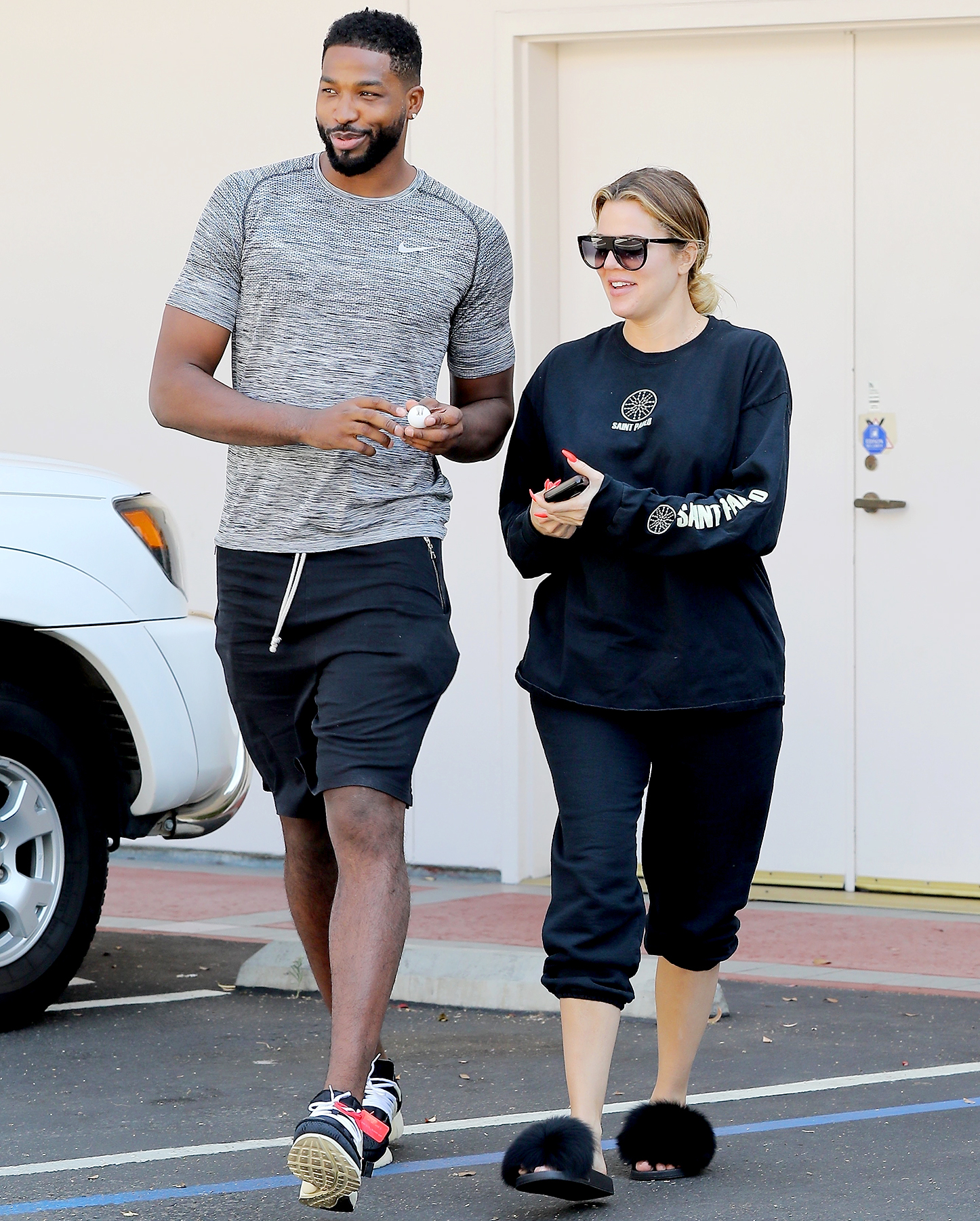 Tristan Thompson and Khloe Kardashian step out on September 16, 2017.