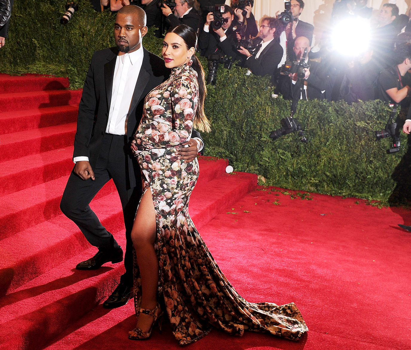 "Kanye West and Kim Kardashian attend the Costume Institute Gala for the ""PUNK: Chaos to Couture"" exhibition at the Metropolitan Museum of Art on May 6, 2013 in New York City."