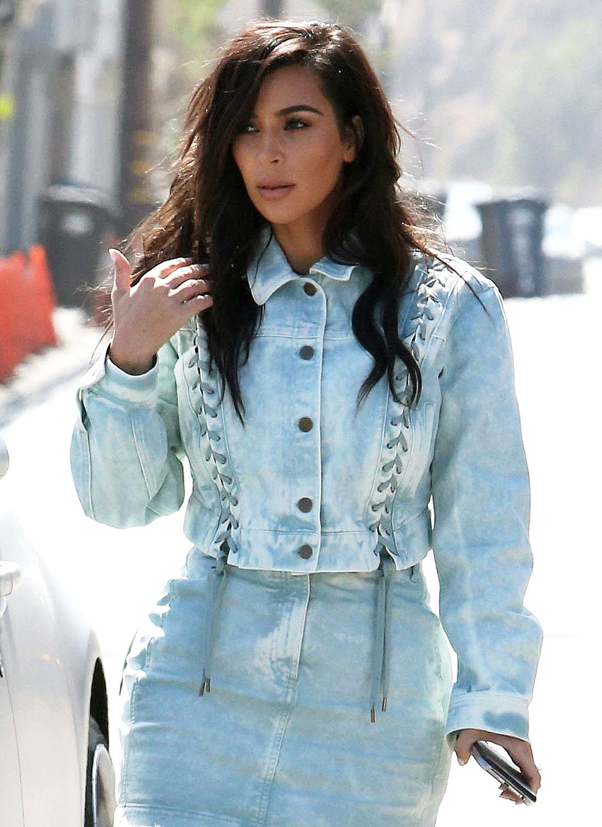 Kim Kardashian Wears Acid Wash Denim: Street Style Pics
