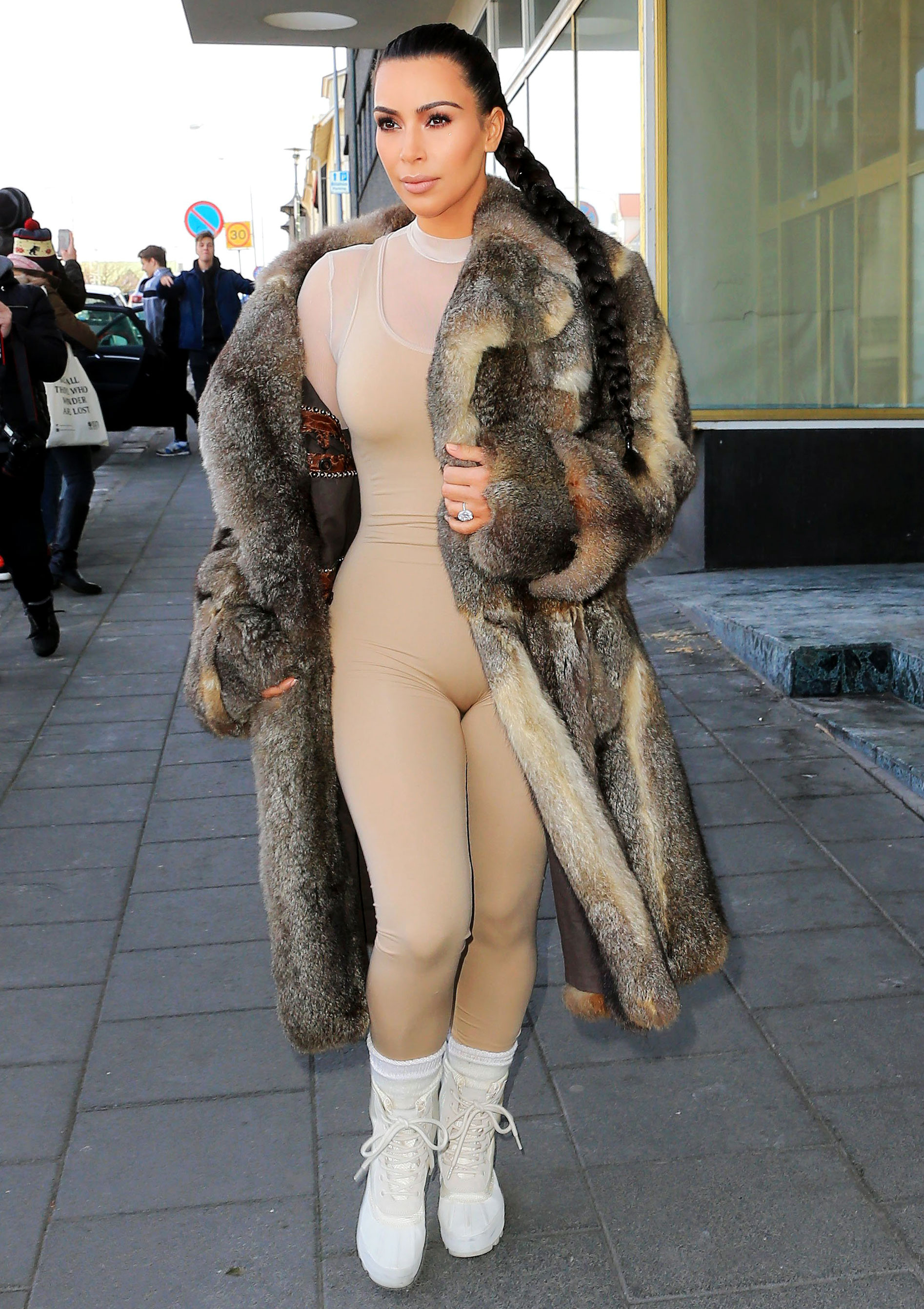 Kim Kardashian visiting Iceland in a nude bodysuit. Splash News Online