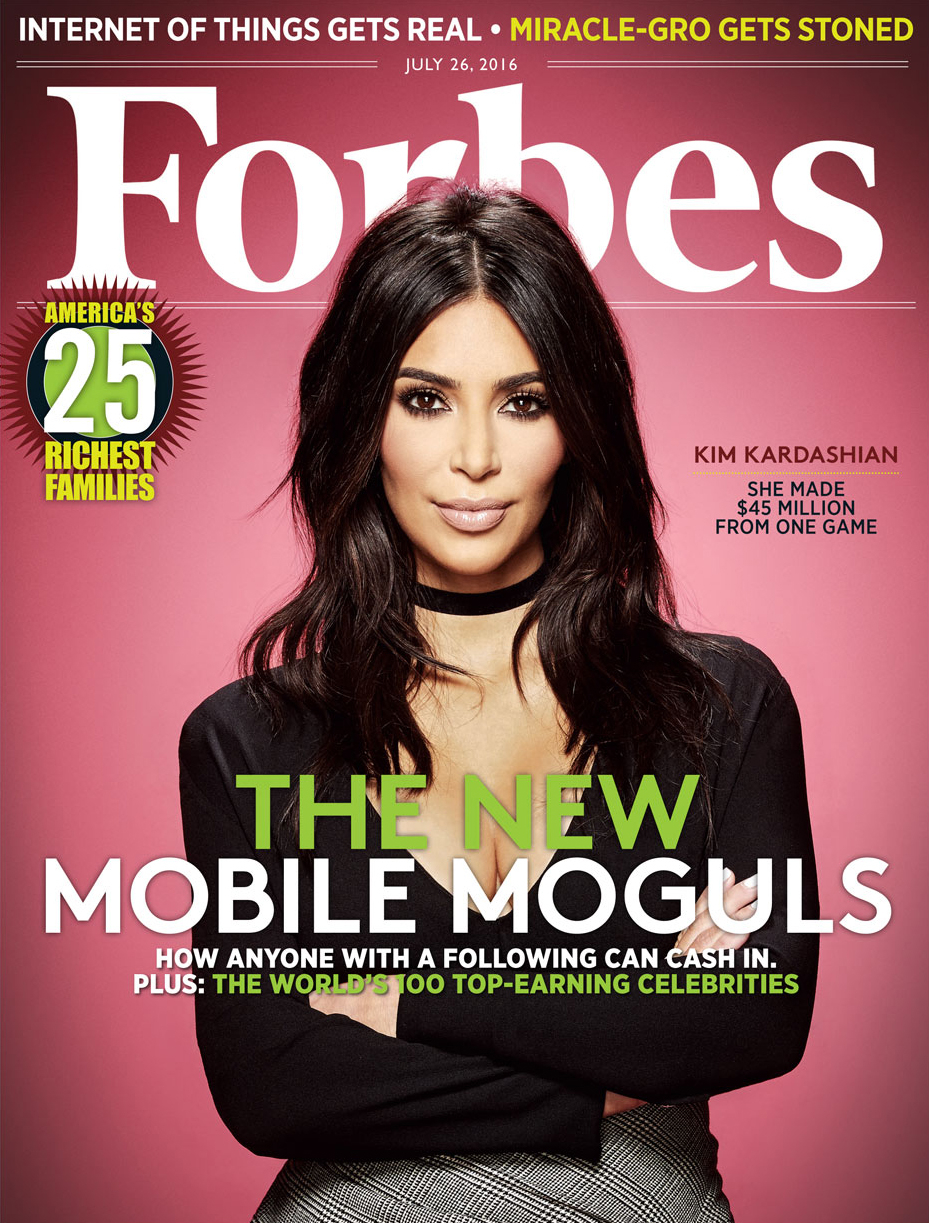 Kim Kardashian on the cover of 'Forbes.'