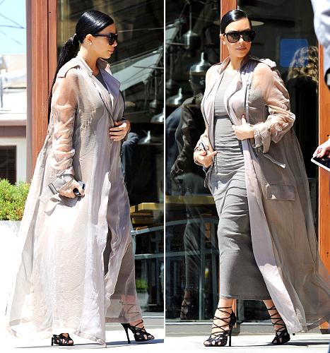 Kim Kardashian - gray outfit filming