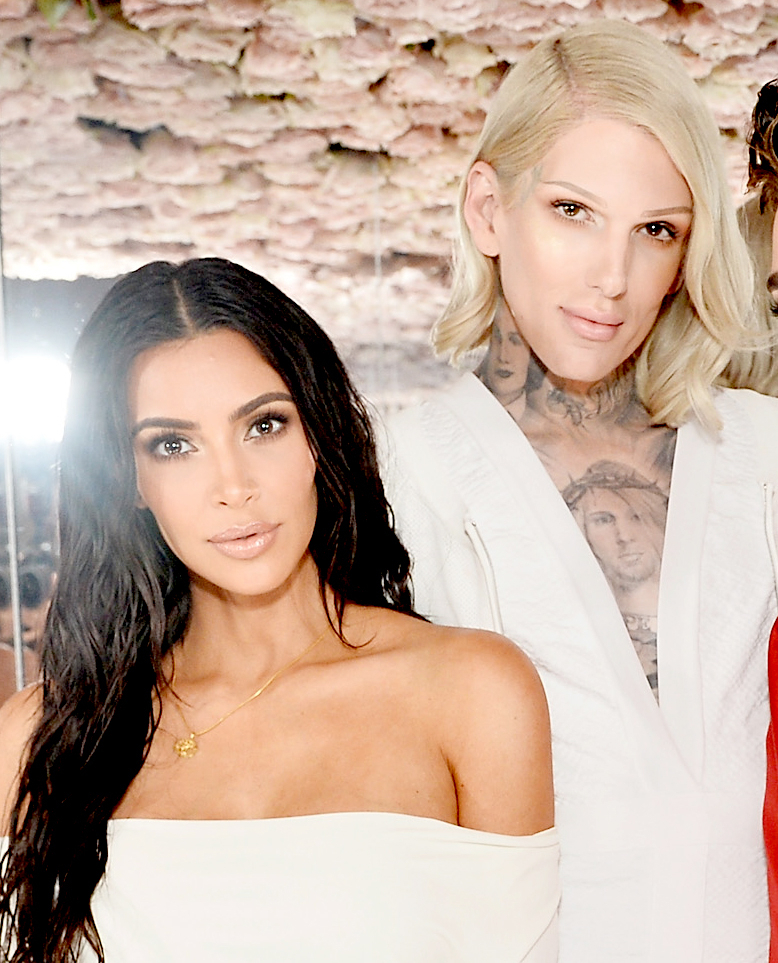 Kim Kardashian and Jeffree Star celebrate the launch of KKW Beauty in Los Angeles on June 20, 2017.