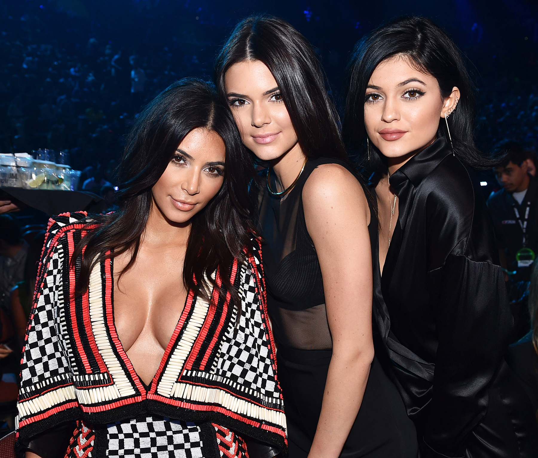 Kim Kardashian with Kendall and Kylie Jenner.