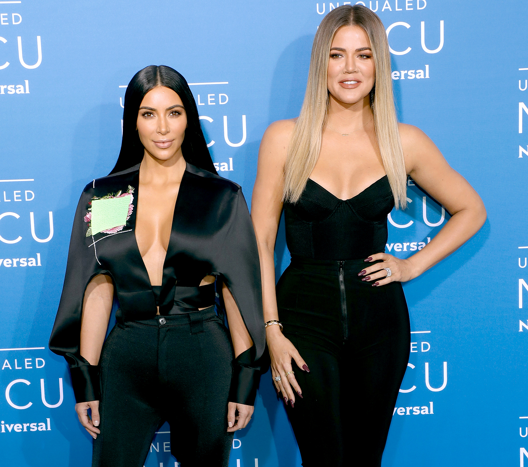 Kim Kardashian West and Khloe Kardashian attend the 2017 NBCUniversal Upfront at Radio City Music Hall on May 15, 2017 in New York City.