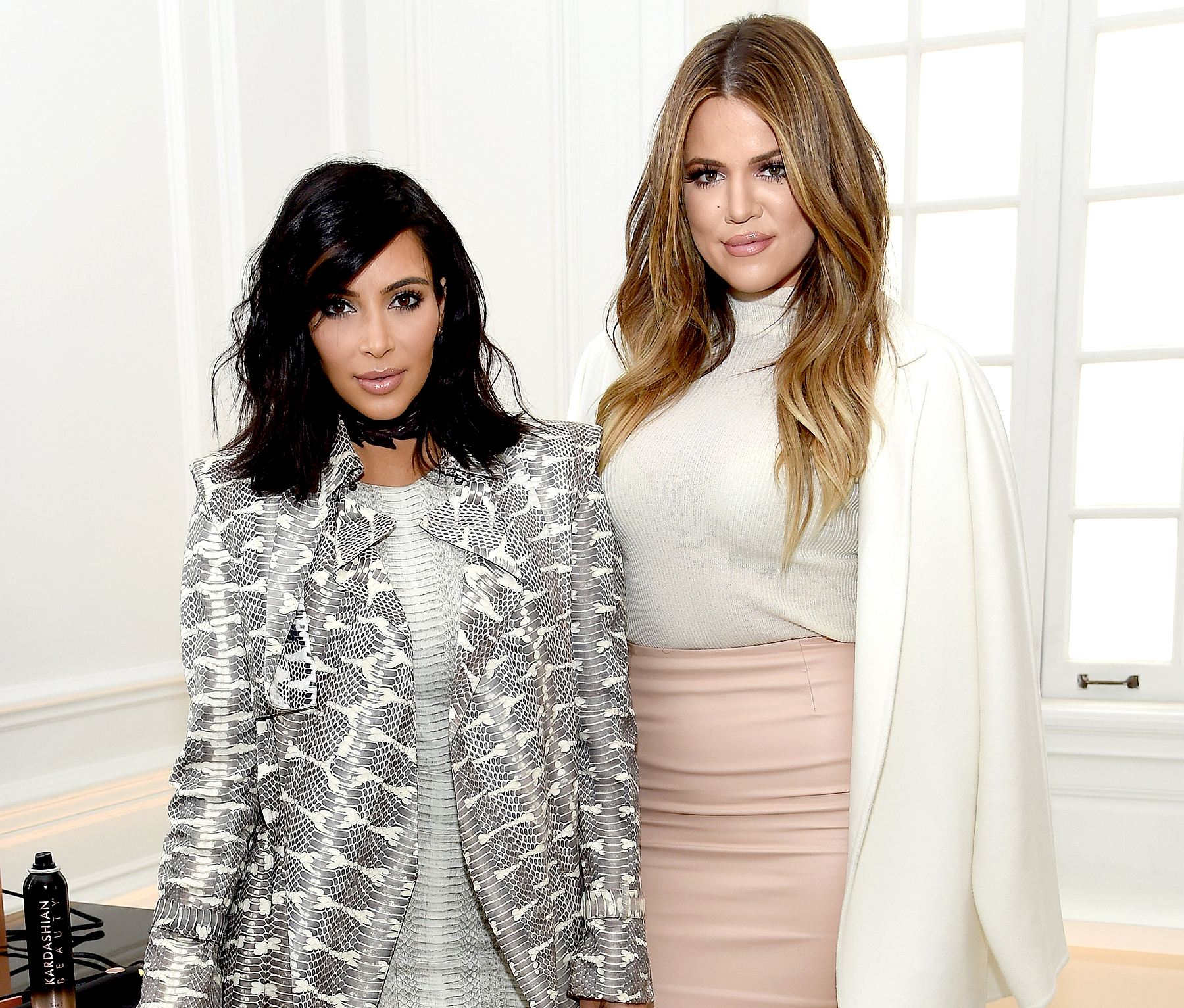 Kim Kardashian West and Khloe Kardashian celebrate the launch of Kardashian Beauty at Academy Mansion on February 10, 2015 in New York City.