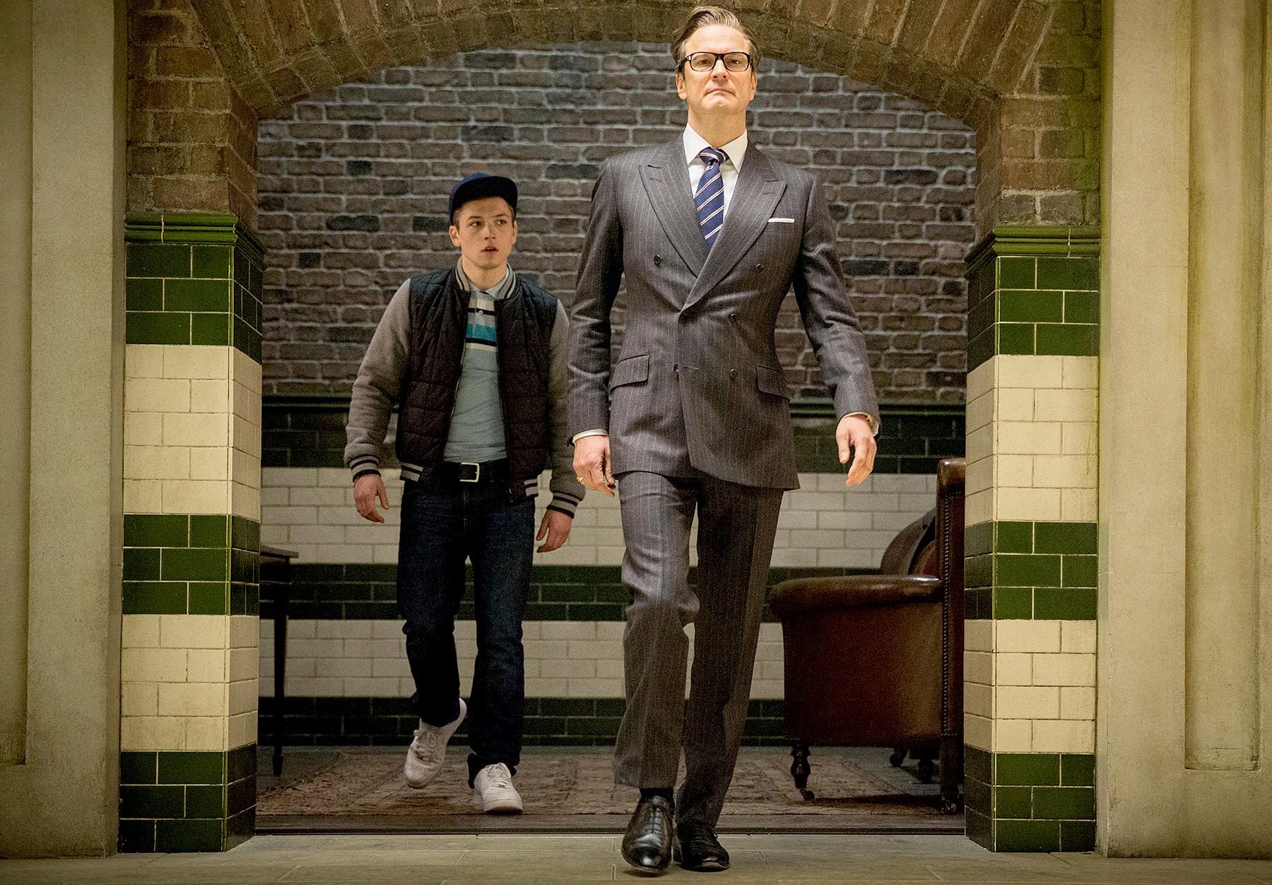 Colin Firth and Taron Egerton in Kingsmen: Secret Service