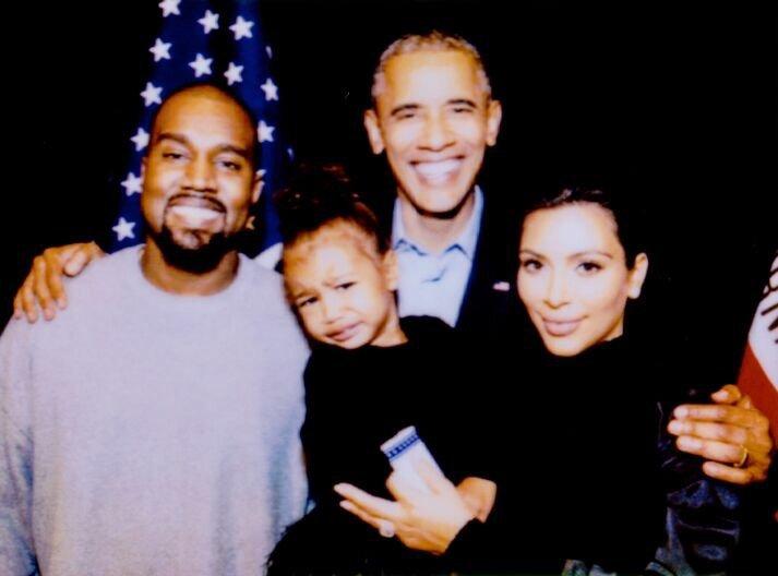 Kanye West, North West, Barack Obama and Kim Kardashian