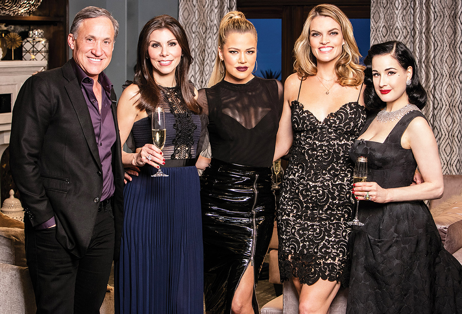 Terry Dubrow, Heather Dubrow, Khloé Kardashian, Missi Pyle and Dita Von Teese