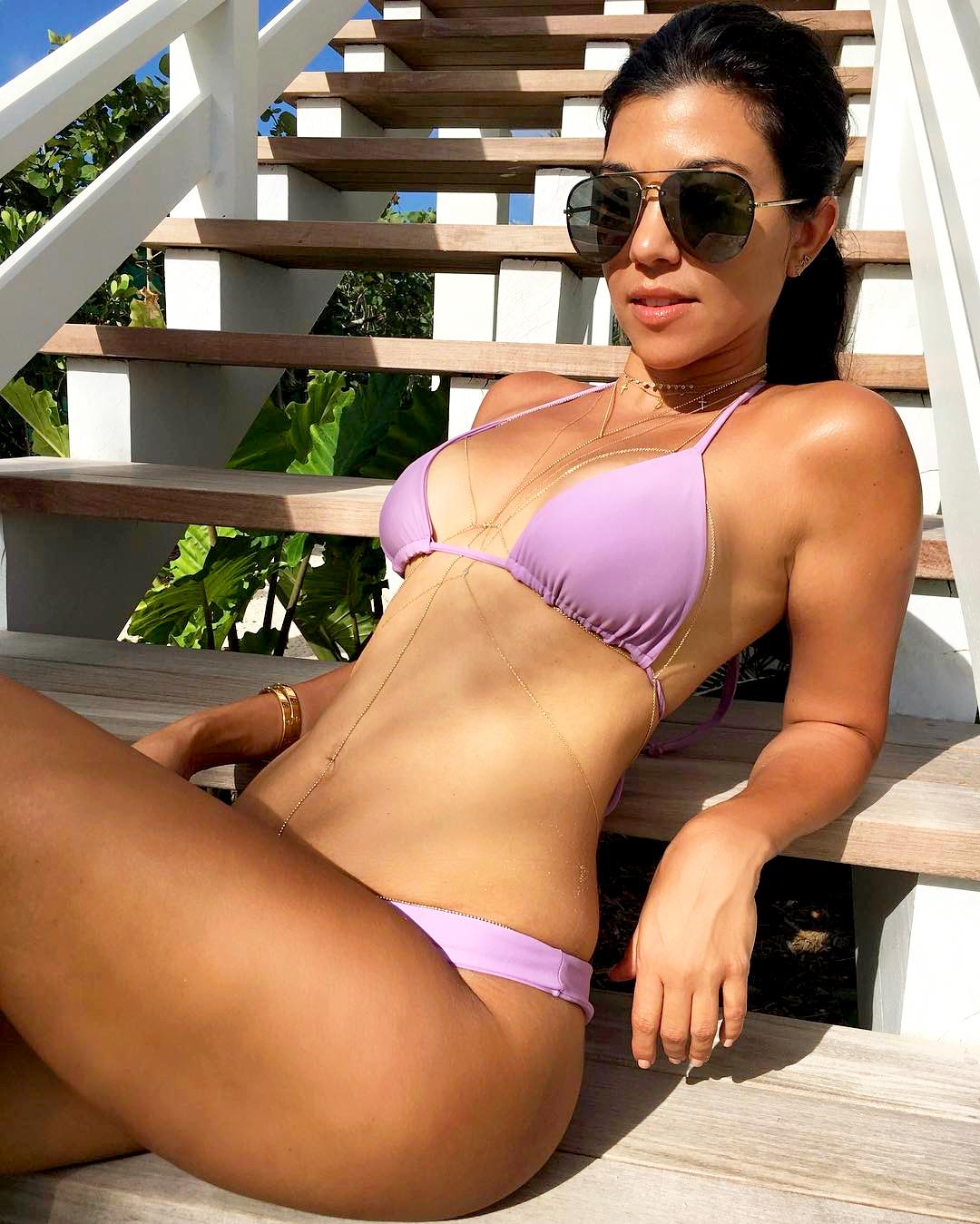 Purple bikini pose