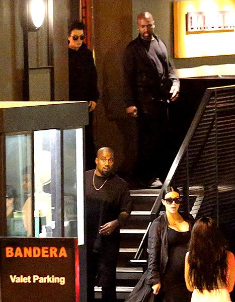 Kris Jenner, Corey Gamble, Kaney West and Kim Kardashian