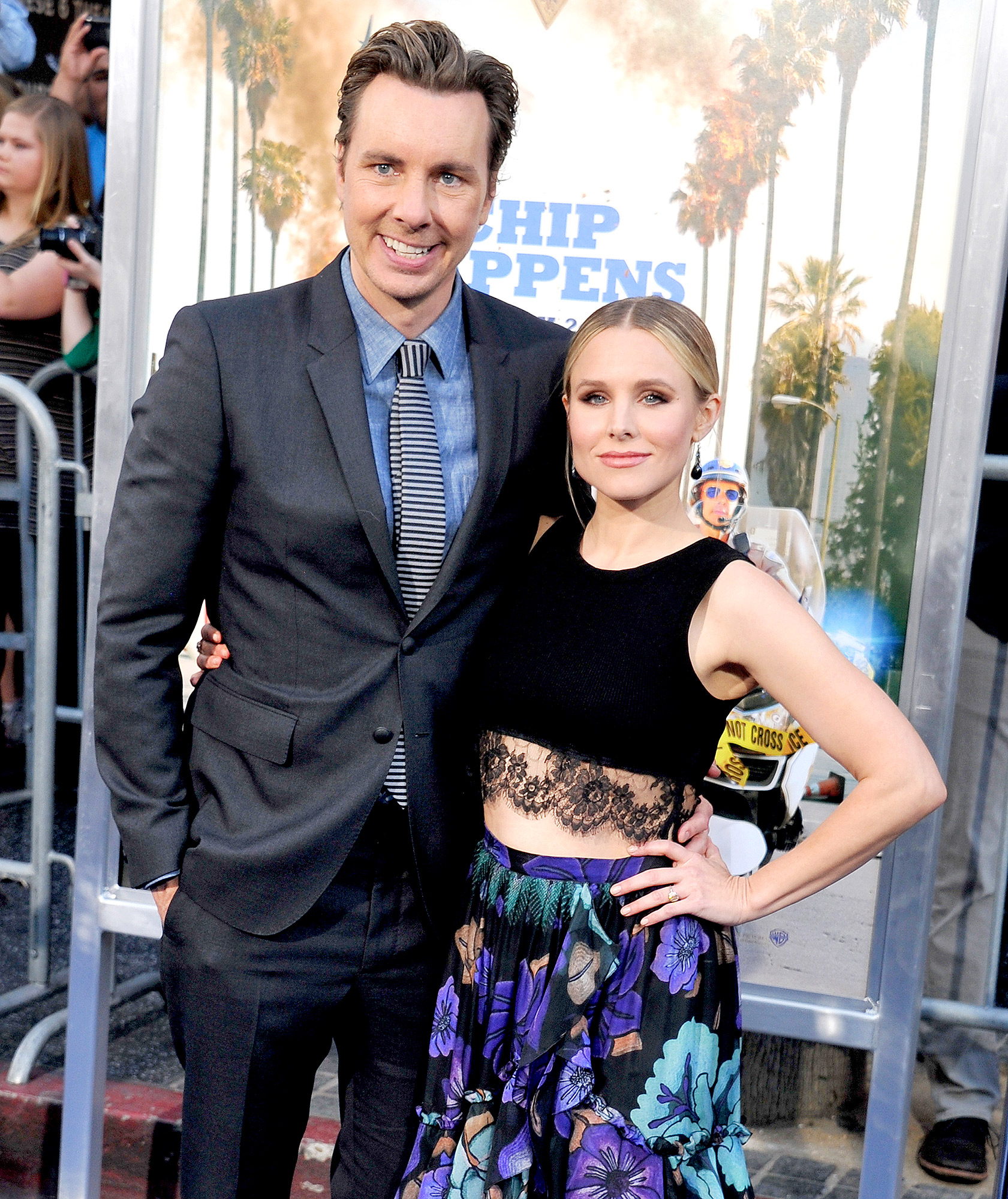 "Dax Shepard and Kristen Bell arrive at the premiere of Warner Bros. Pictures' ""CHiPS"" at TCL Chinese Theatre on March 20, 2017 in Hollywood, California."