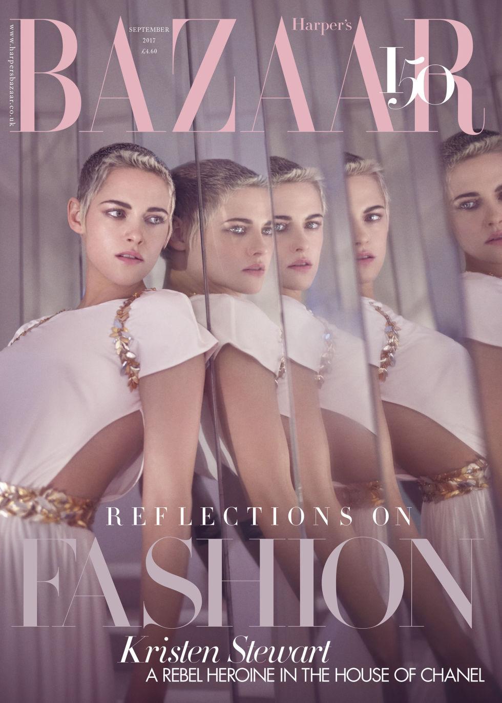 Kristen wears Chanel on the newsstand cover of 'Harper's Bazaar U.K.'