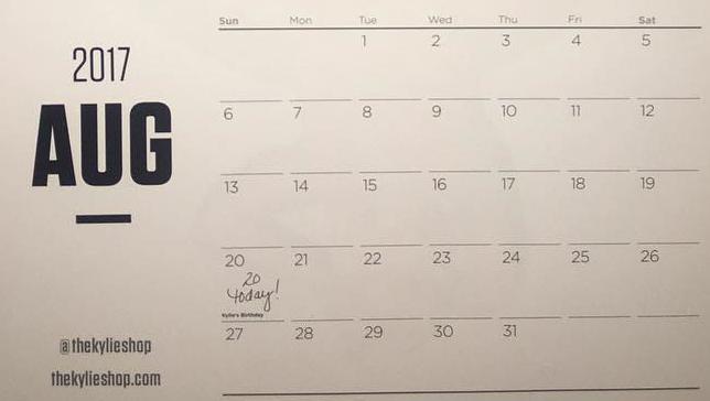 Kylie's calendar