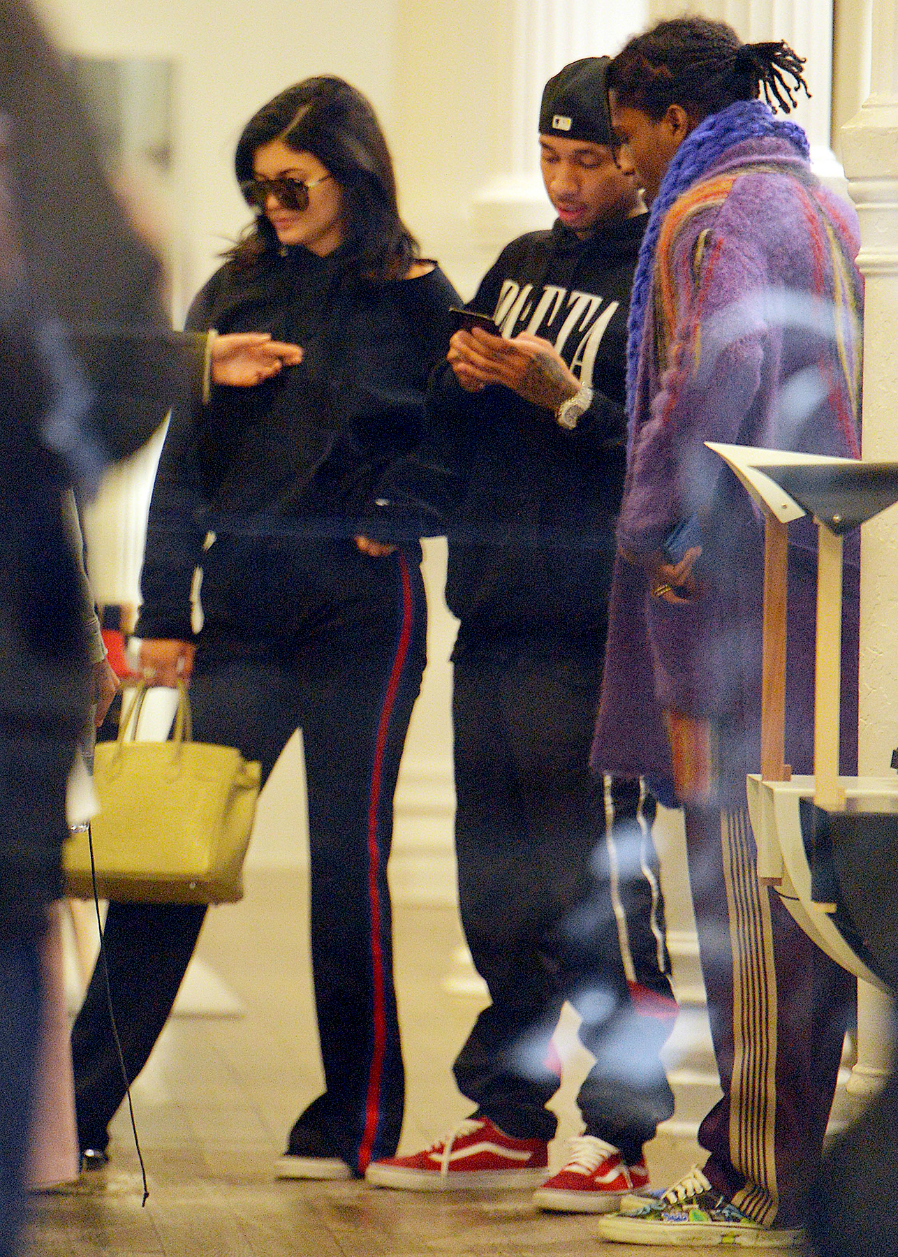 Kylie Jenner, Tyga, and A$AP Rocky (from left) are seen shopping in Manhattan on January 17, 2017 in New York City.