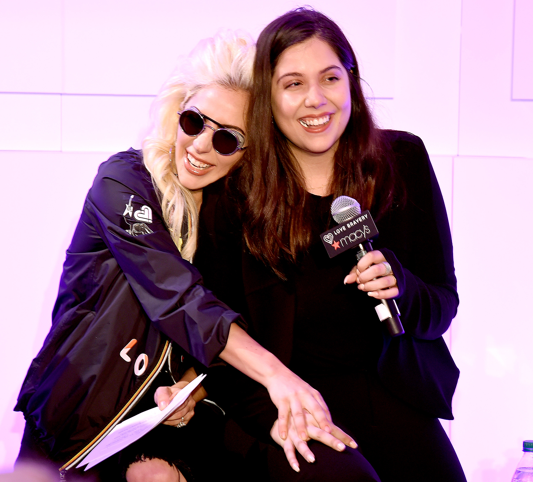 Lady Gaga and Natali Germanotta speak to customers who made a lovebravery qualifying purchase at the launch of
