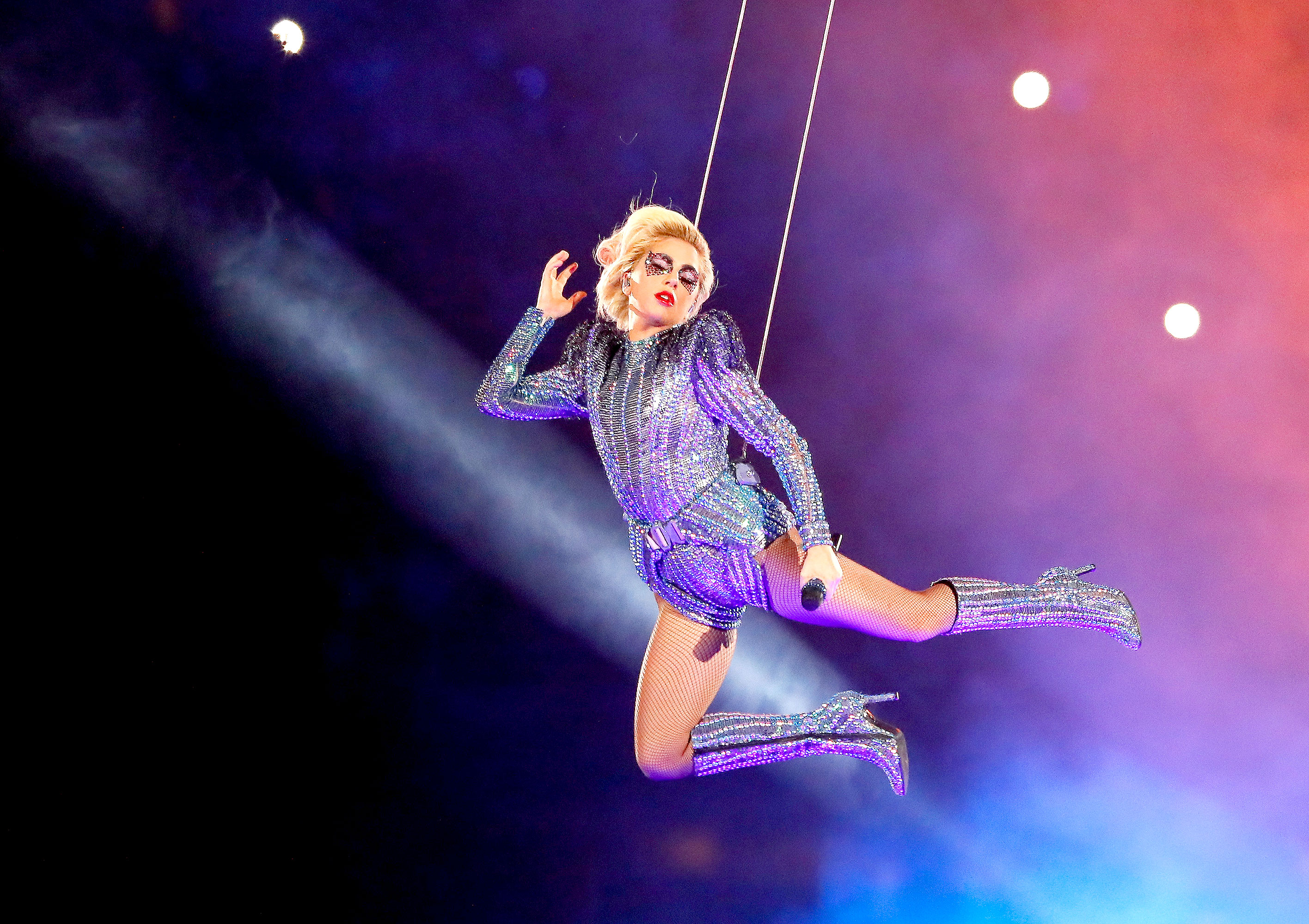 Lady Gaga performs during the Pepsi Zero Sugar Super Bowl 51 Halftime Show at NRG Stadium on February 5, 2017 in Houston, Texas.