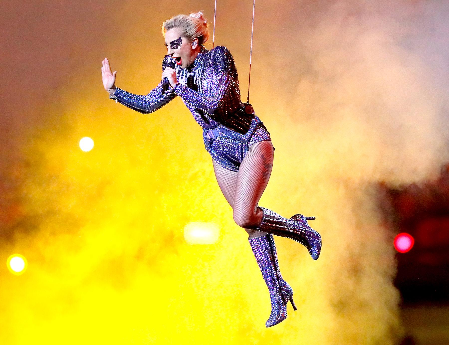 Lady Gaga performs during the Pepsi Zero Sugar Super Bowl LI Halftime Show at NRG Stadium on Feb. 5, 2017, in Houston.