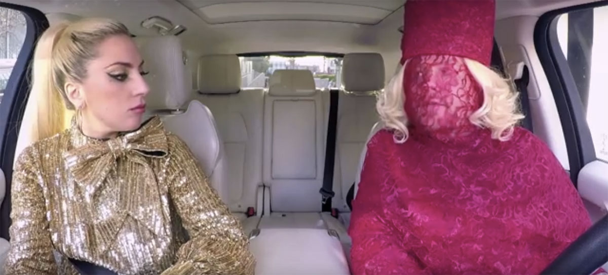 Lady Gaga takes in James Corden's attempt to replicate her style