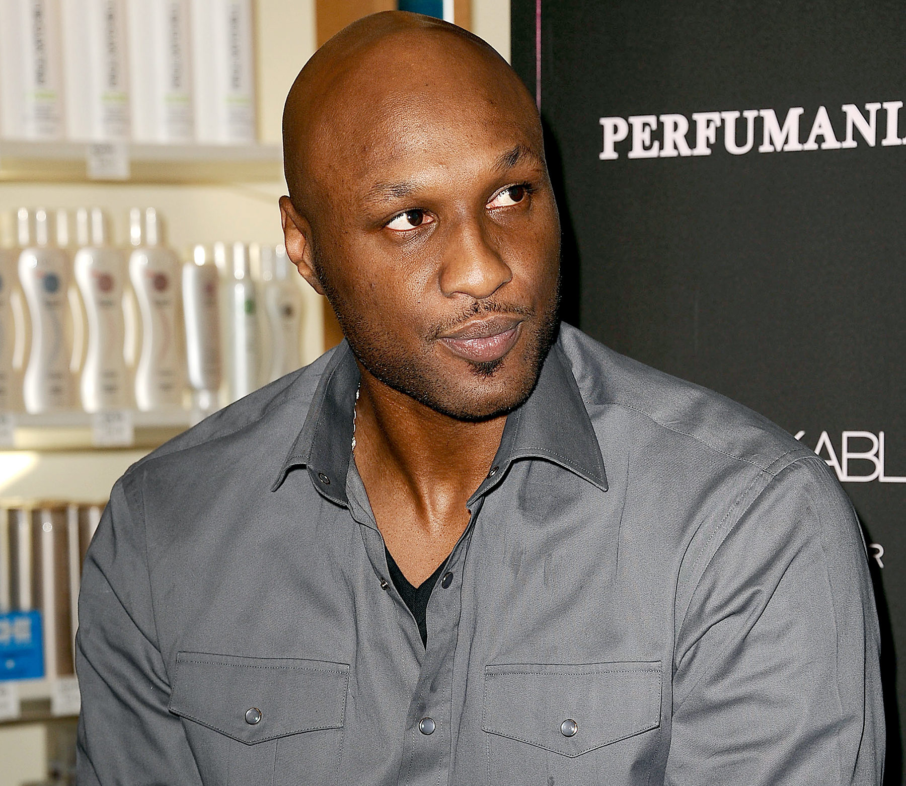 Lamar Odom makes an appearance for 'Unbreakable Bond' at Perfumania in Orange, California, on June 7, 2012.