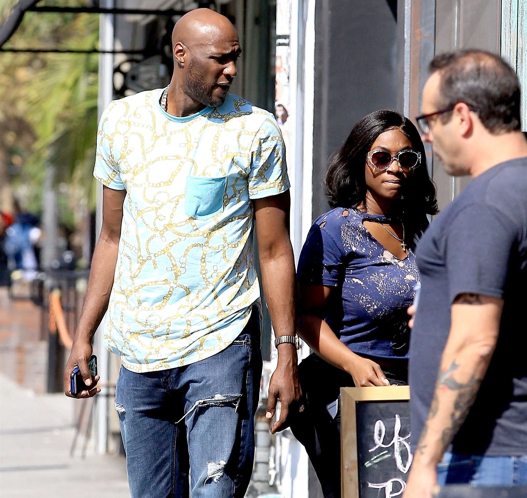 Lamar Odom is spotted out with MaddyMorebucks in Los Angeles on October 2, 2017.