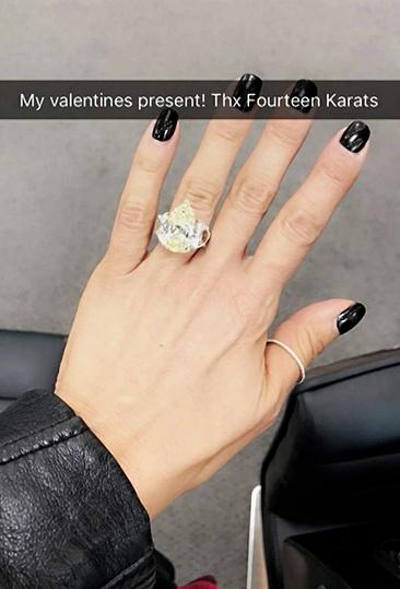 Larsa Pippen Snapchat ring Valentine's Day present