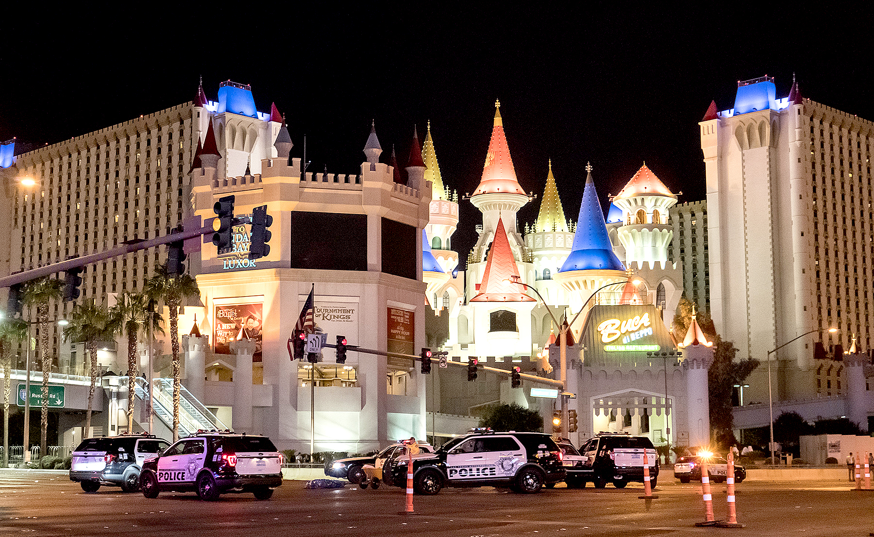 Police block the roads leading to the Mandalay Hotel (background) after a gunman attack in Las Vegas, NV, United States on October 02, 2017.