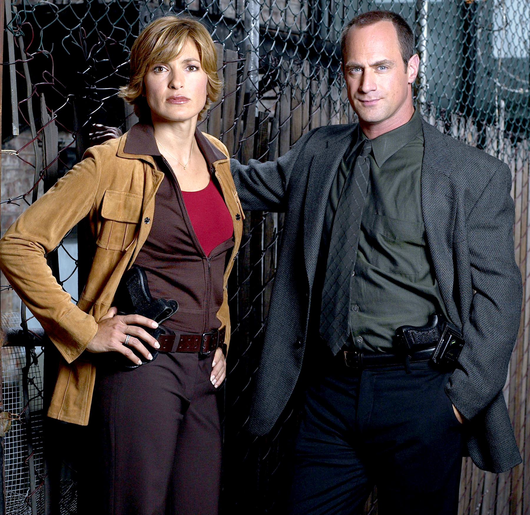 Mariska Hargitay as Detective Olivia Benson and Christopher Meloni as Detective Elliot Stabler