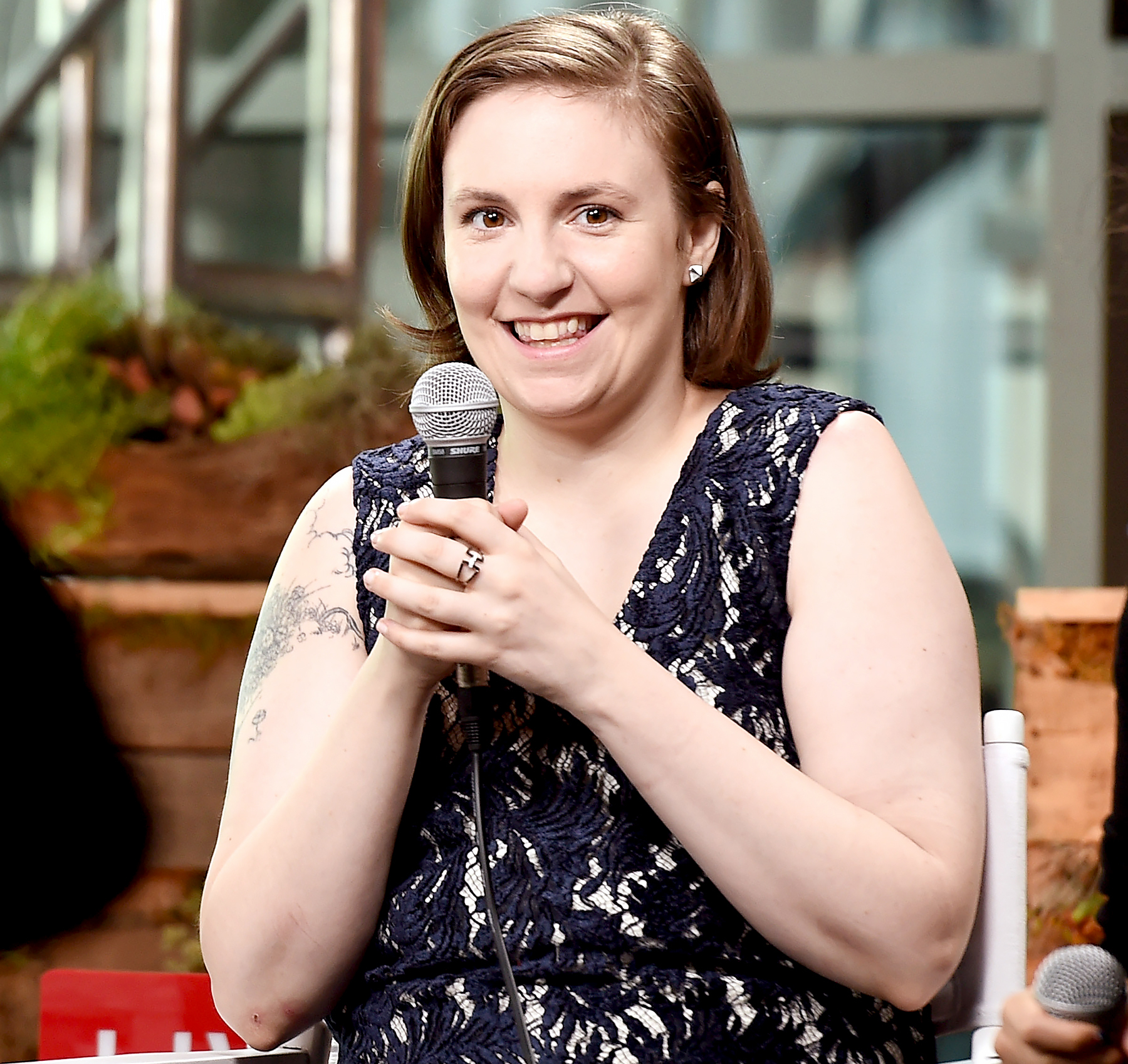 Lena Dunham speak at the Glamour And Facebook Host Conversation With Cindi Leive, Chelsea Clinton, Lena Dunham, America Ferrera At The Democratic National Convention on July 26, 2016 in Philadelphia, Pennsylvania.