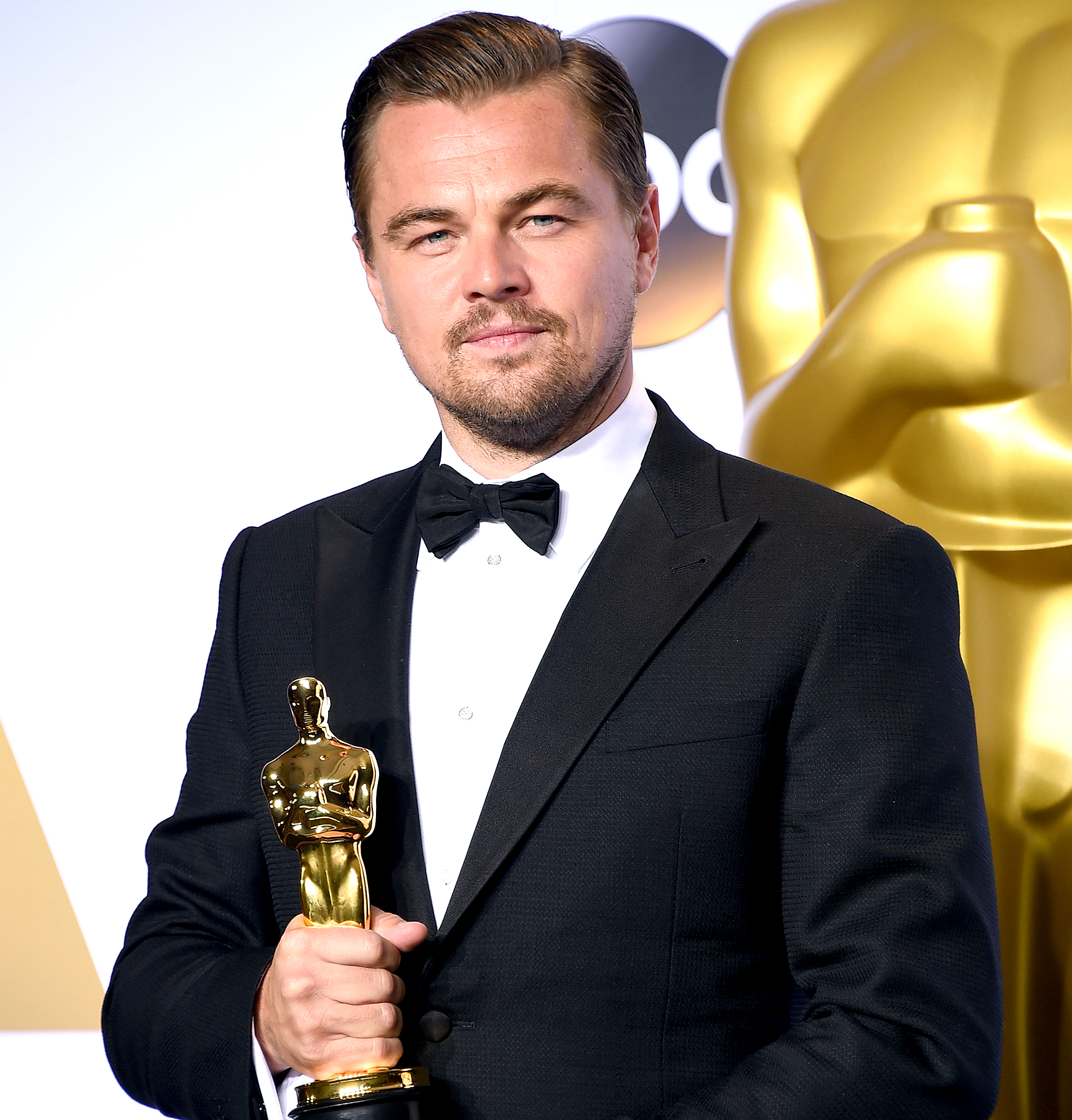 Leonardo DiCaprio, winner of best actor for 'The Revenant,' poses in the press room during the 88th Annual Academy Awards.