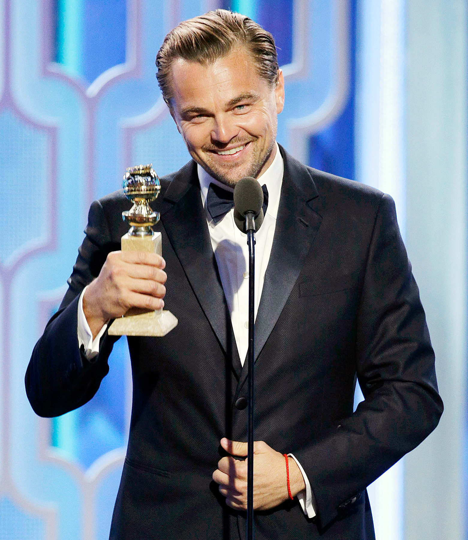 Leonardo DiCaprio on stage at the Golden Globes 2016