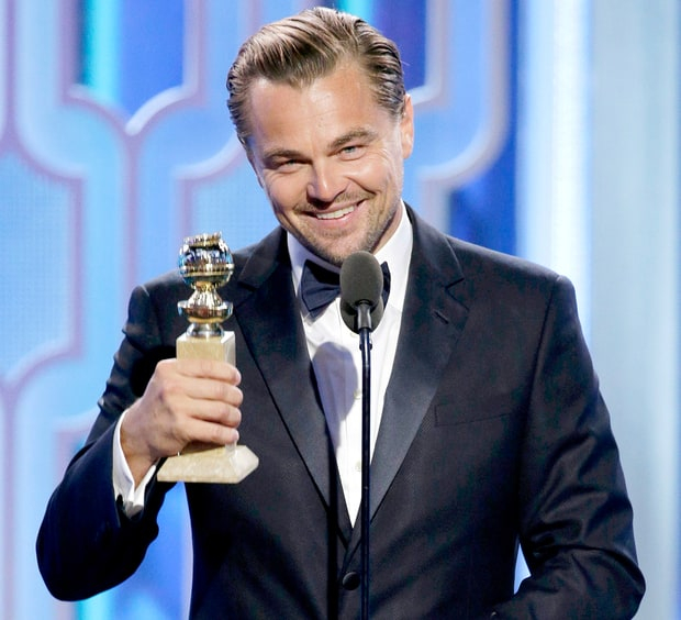 Leonardo DiCaprio accepts the award for Best Actor — Motion Picture, Drama