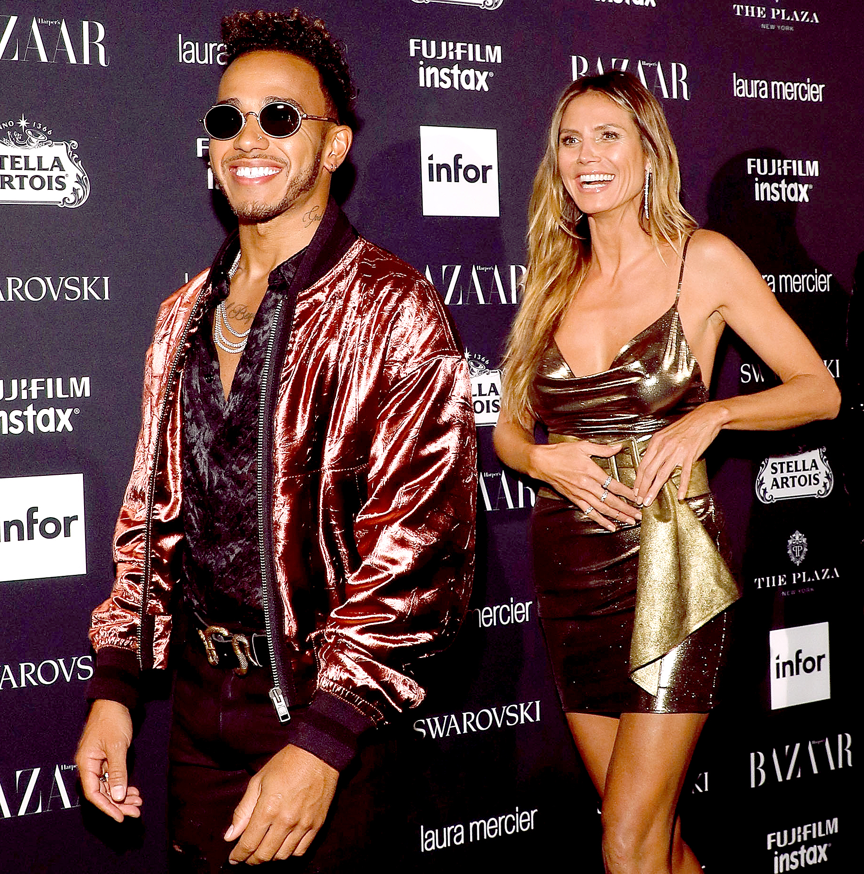 Lewis Hamilton and Heidi Klum attend the 2017 Harper ICONS party at The Plaza Hotel on September 8, 2017 in New York City.
