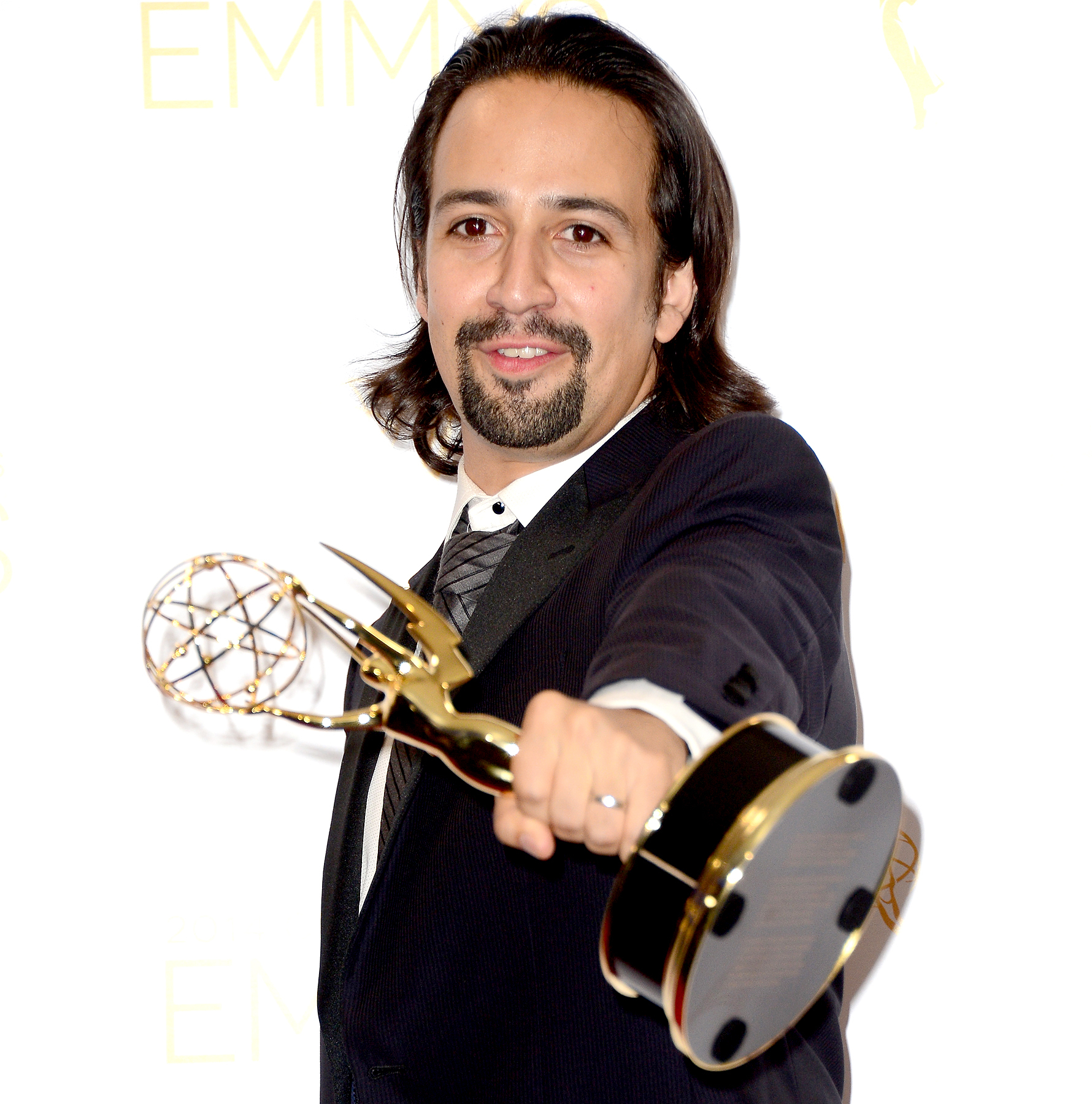 Lin-Manuel Miranda poses in the press room during the 2014 Creative Arts Emmy Awards at Nokia Theatre L.A. Live on August 16, 2014 in Los Angeles, California.