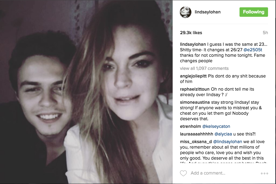 Lindsay Lohan accused her fiance of cheating