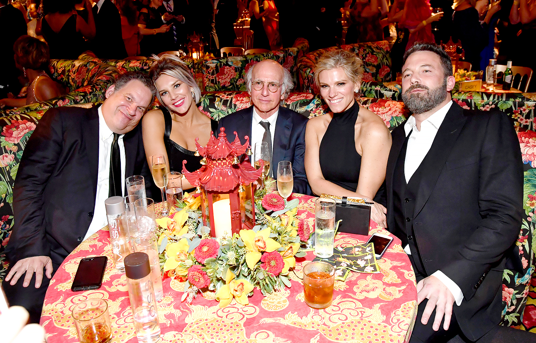 Jeff Garlin, Charissa Thompson, Larry David, Lindsay Shookus and Ben Affleck attend the HBO's Official 2017 Emmy After Party at The Plaza at the Pacific Design Center on September 17, 2017 in Los Angeles, California.