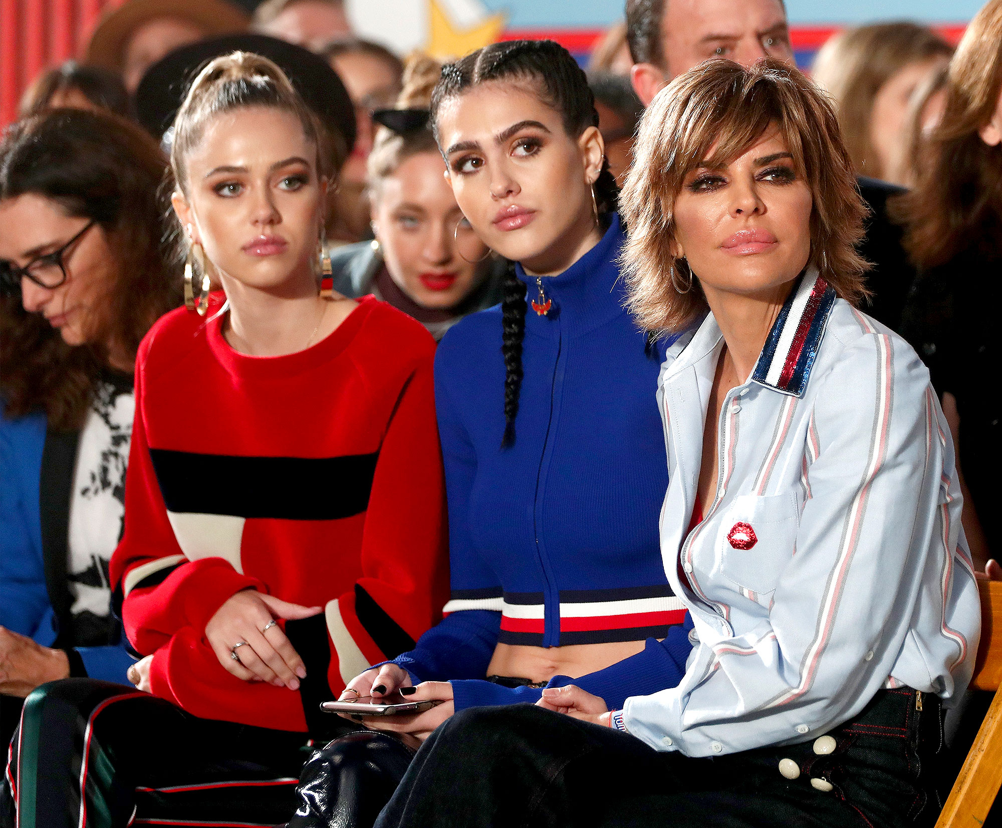 Delilah Hamlin, Amelia Hamlin and actress Lisa Rinna attend the TommyLand Tommy Hilfiger Spring 2017 Fashion Show on February 8, 2017 in Venice, California.