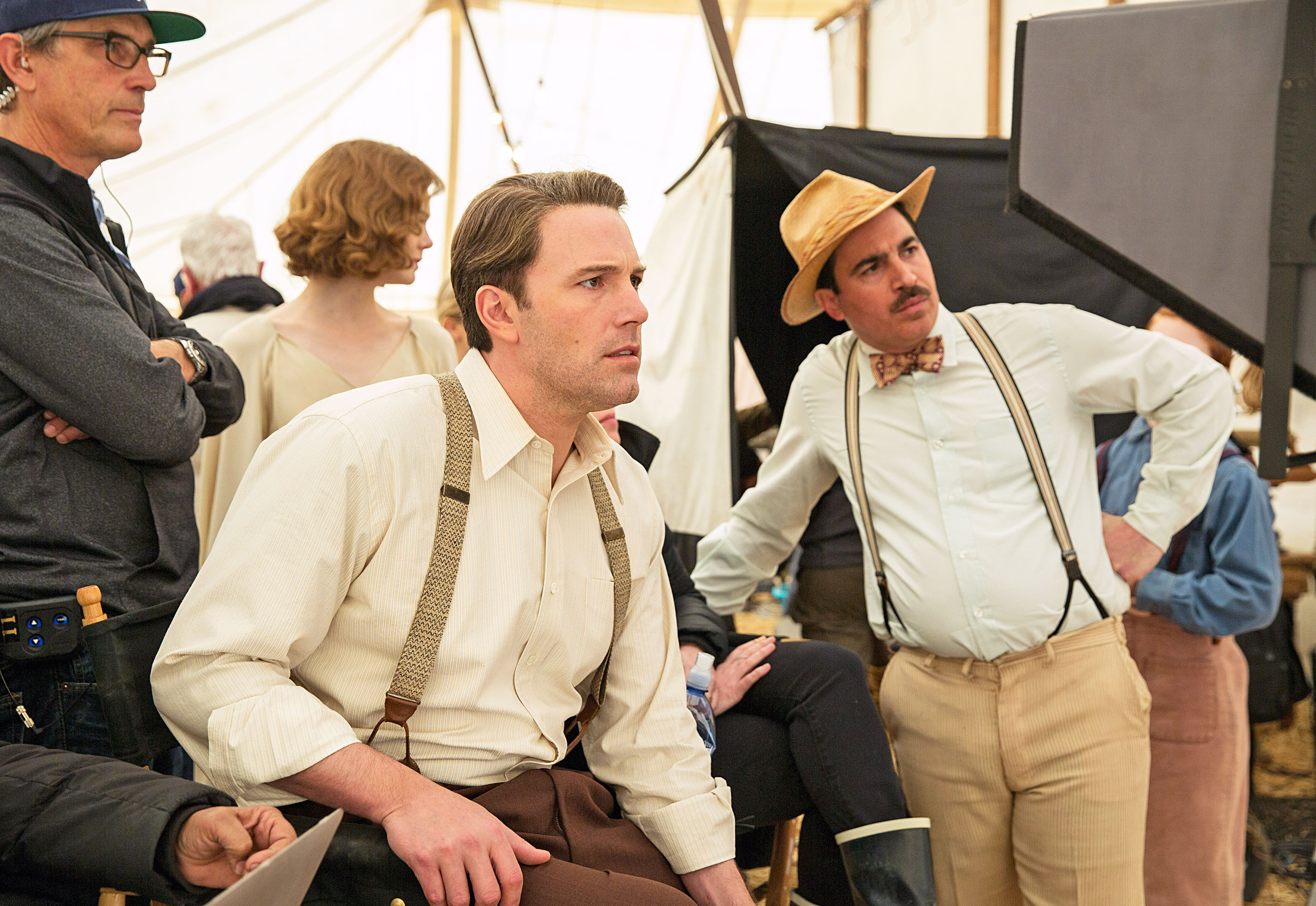 Writer/Director Ben Affleck and Chris Messina on the set of 'Live by Night' casey movie film