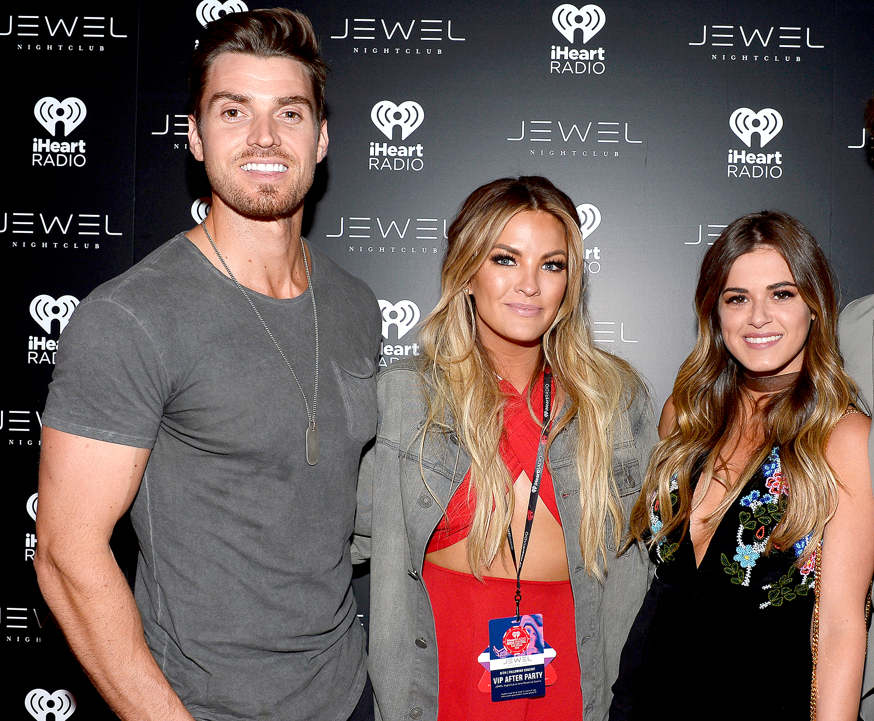Luke Pell, Becca Tilley and JoJo Fletcher arrive at the iHeartRadio Music Festival afterparty at Jewel Nightclub at the Aria Resort & Casino on September 24, 2016, in Las Vegas.