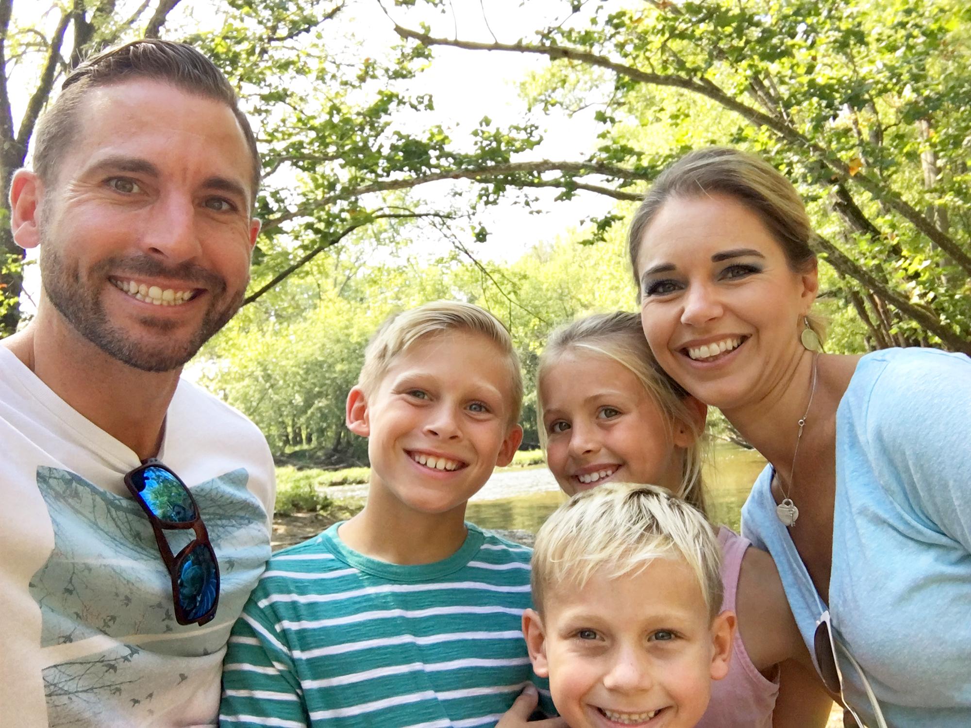 Luke Newton, Kara Lewis Newton, Silas, Lila and Jack.