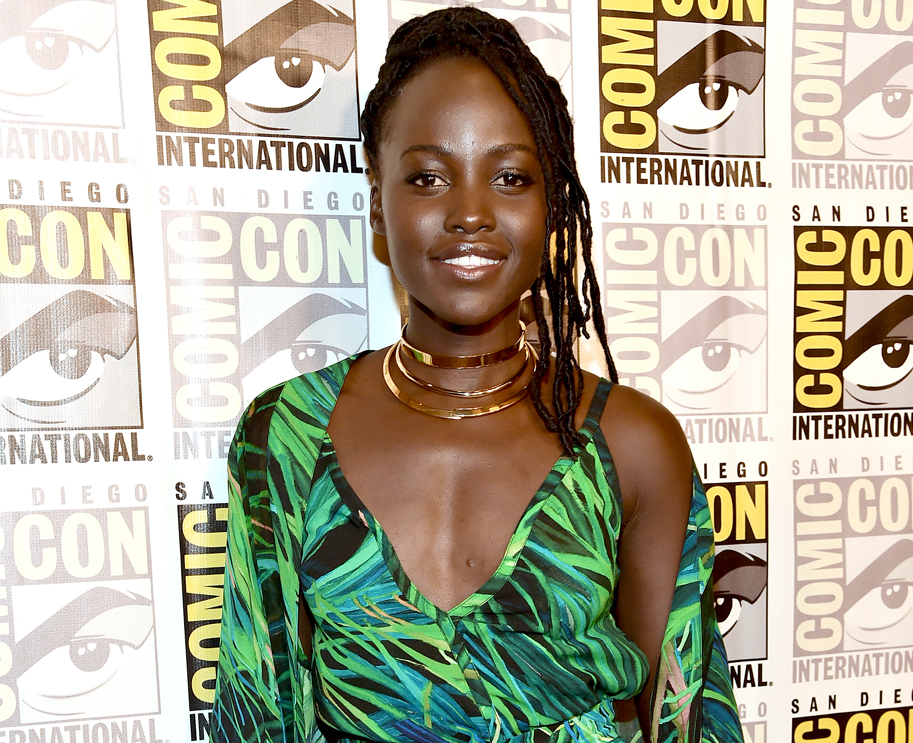 Lupita Nyong'o from Marvel Studios Black Panther at the San Diego Comic-Con International 2017 Marvel Studios Panel in Hall H on July 22, 2017 in San Diego, California.