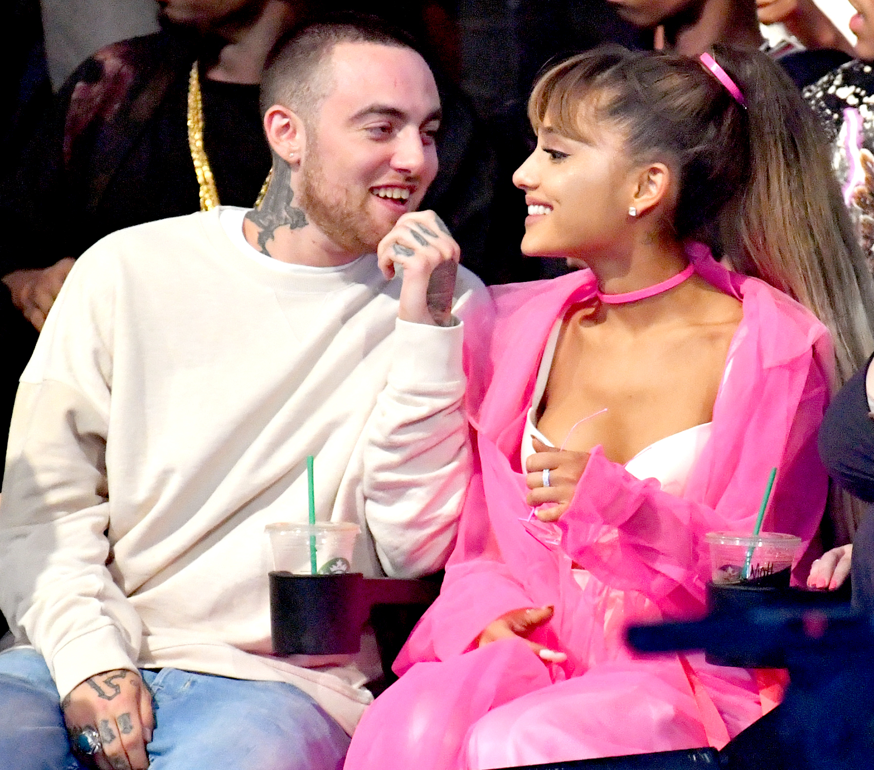 Mac Miller and Ariana Grande attend the 2016 MTV Video Music Awards at Madison Square Garden on August 28, 2016 in New York City.