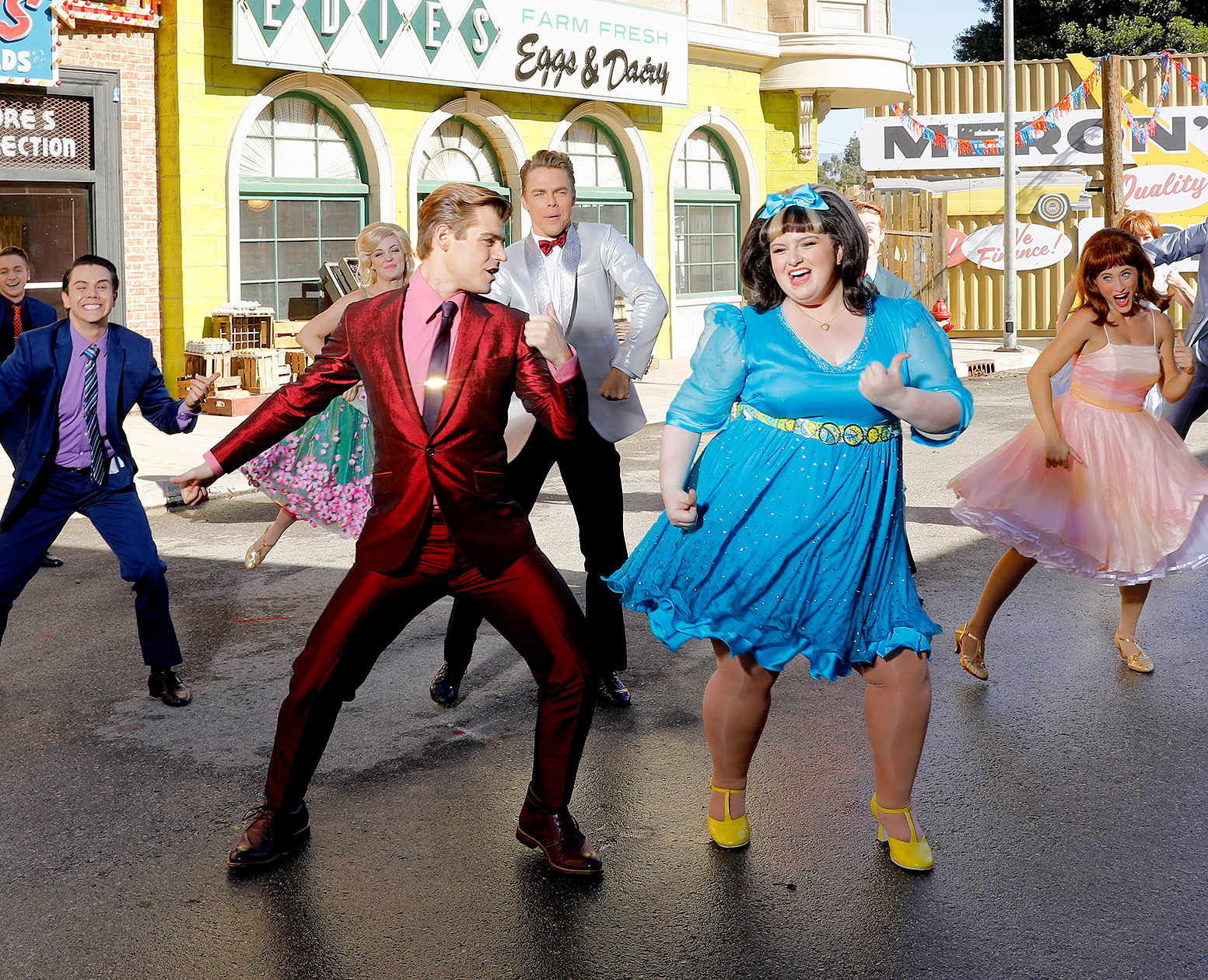 Garrett Clayton as Link Larkin, Derek Hough as Corny Collins and Maddie Baillio as Tracy Turnblad