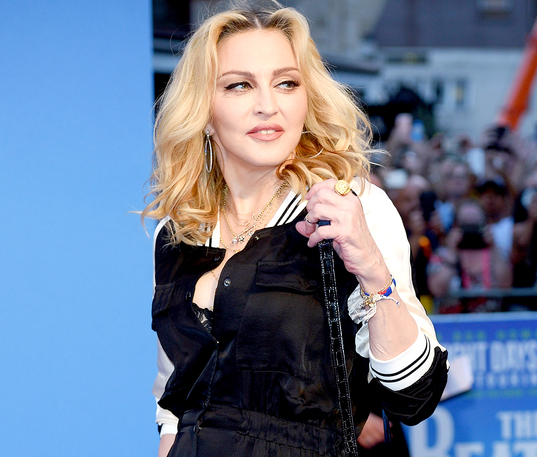 "Madonna arrives for the World premiere of ""The Beatles: Eight Days A Week - The Touring Years"" at Odeon Leicester Square on September 15, 2016 in London, England."