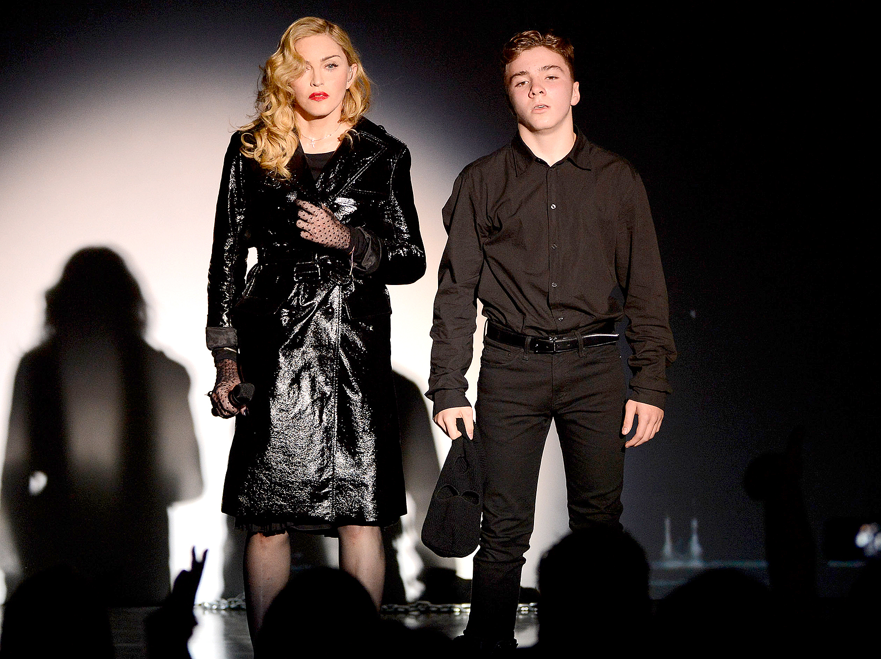 Madonna and Rocco Ritchie perform during Madonna and Steven Klein secretprojectrevolution at the Gagosian Gallery on September 24, 2013 in New York City.