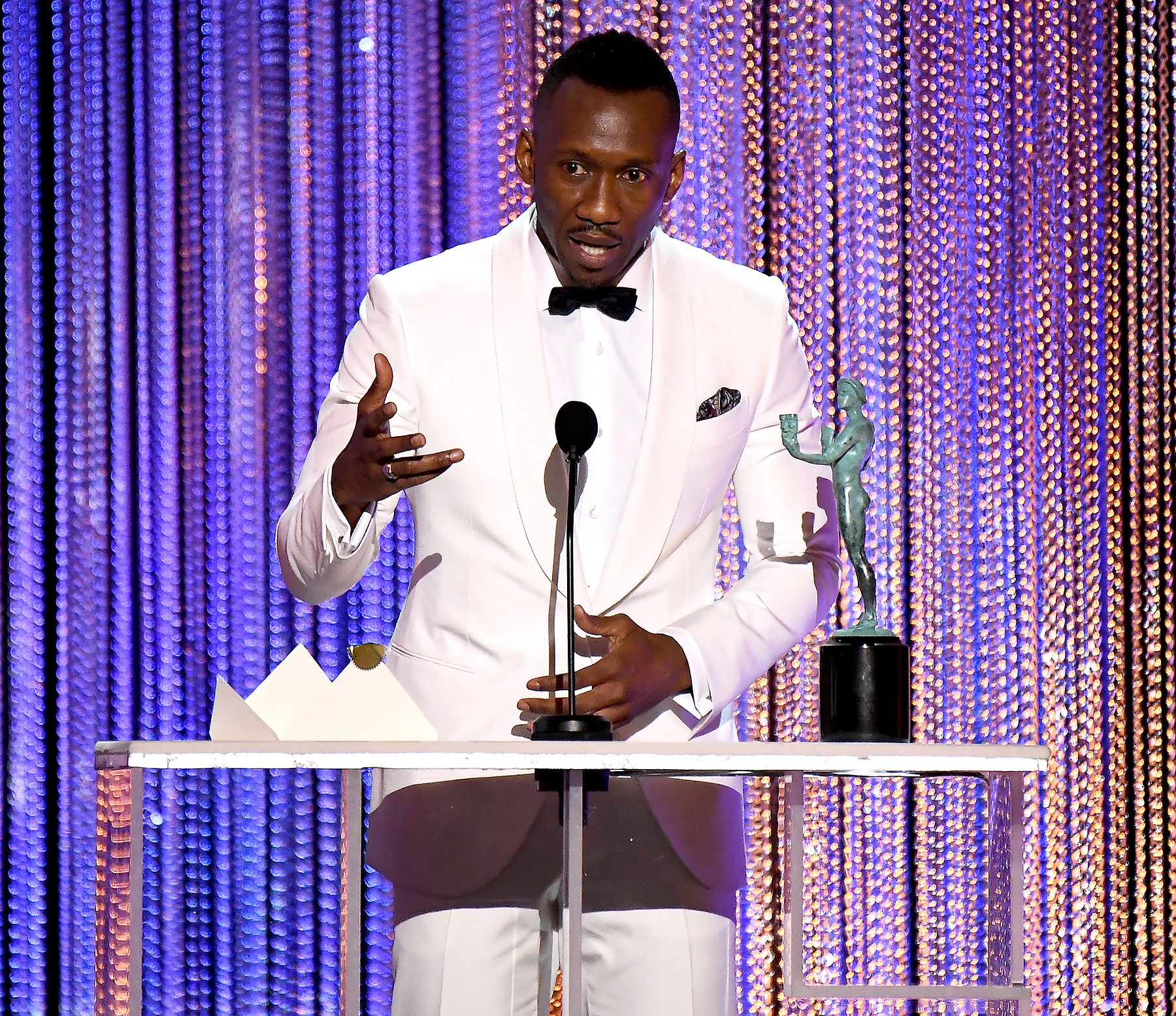Mahershala Ali accepts the award for Best Male Actor in a Supporting Role for 'Moonlight,' onstage during the 23rd Annual Screen Actors Guild Awards at The Shrine Expo Hall on January 29, 2017 in Los Angeles, California.